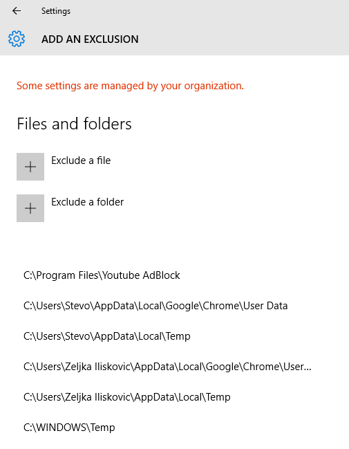 Add or Remove Windows Defender Exclusions in Windows 10