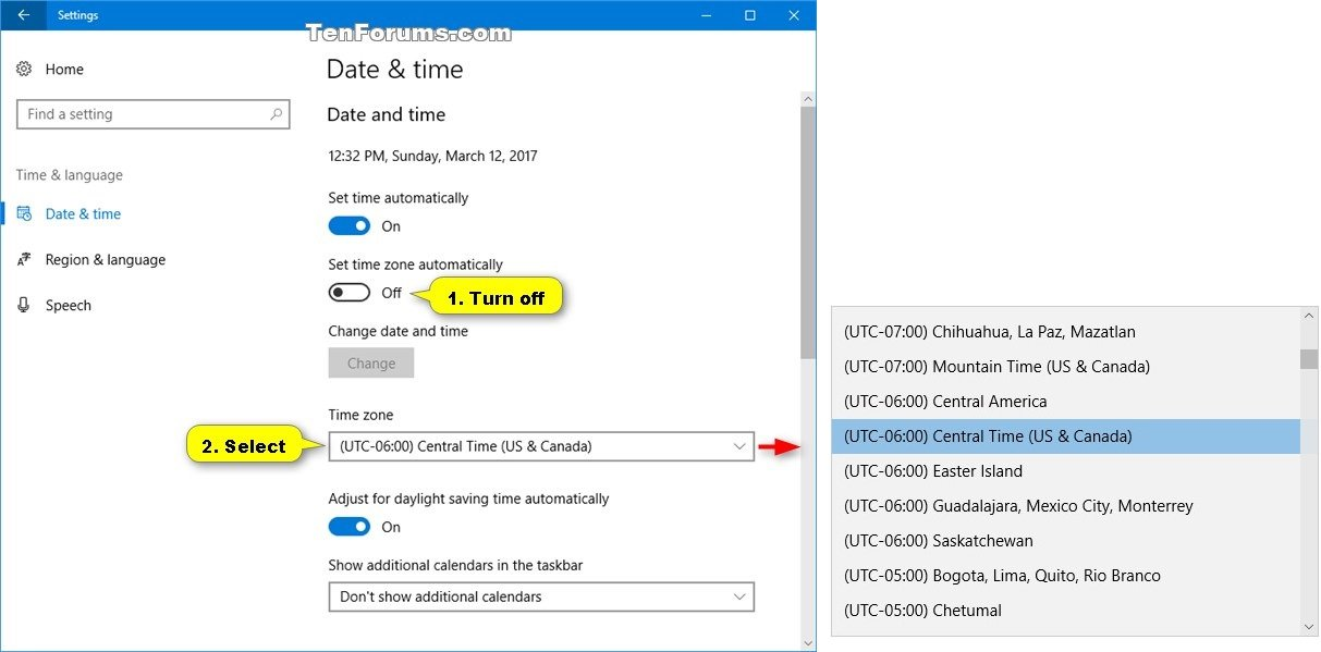 Change Time Zone In Windows General Tips Tutorials - Central america time zone