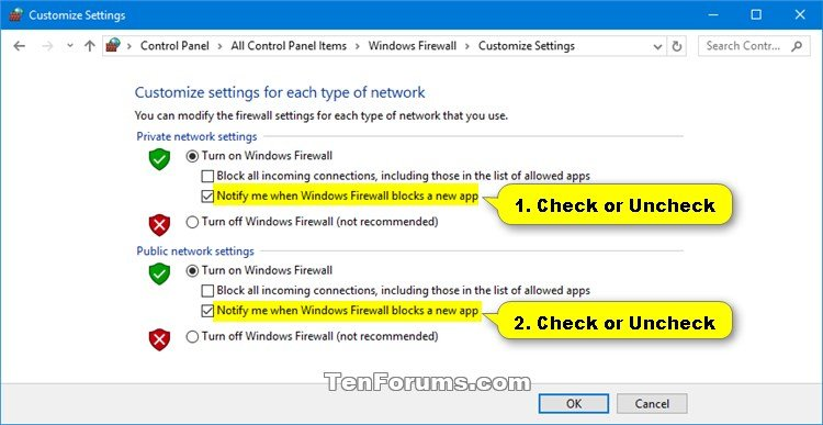 Turn On or Off Windows Defender Firewall Notifications in Windows 10