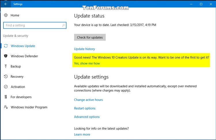 Remove Windows 10 Creators Update message in Windows Update ...