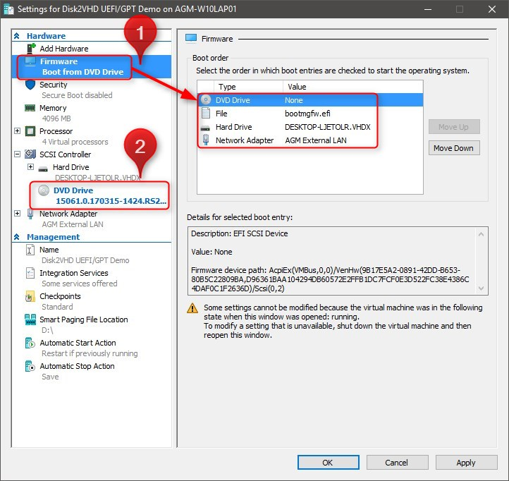 Hyper-V - Create and Use VHD of Windows 10 with Disk2VHD