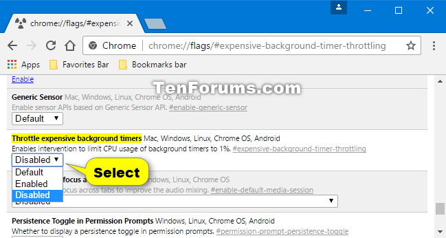 Enable or Disable Google Chrome Background Tab Throttling in