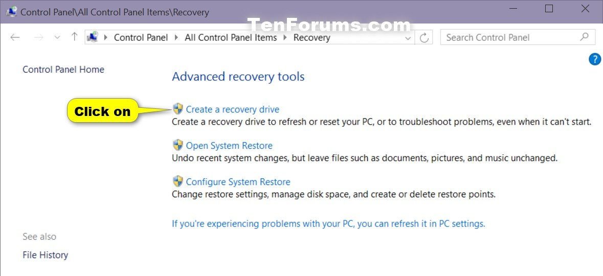 what is a recovery disk windows 10