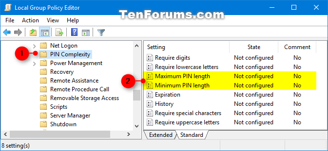 Specify Maximum and Minimum PIN Length in Windows 10 | Tutorials