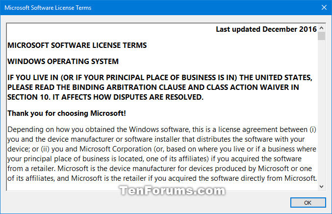 Find Microsoft End User License Agreement Eula In Windows 10