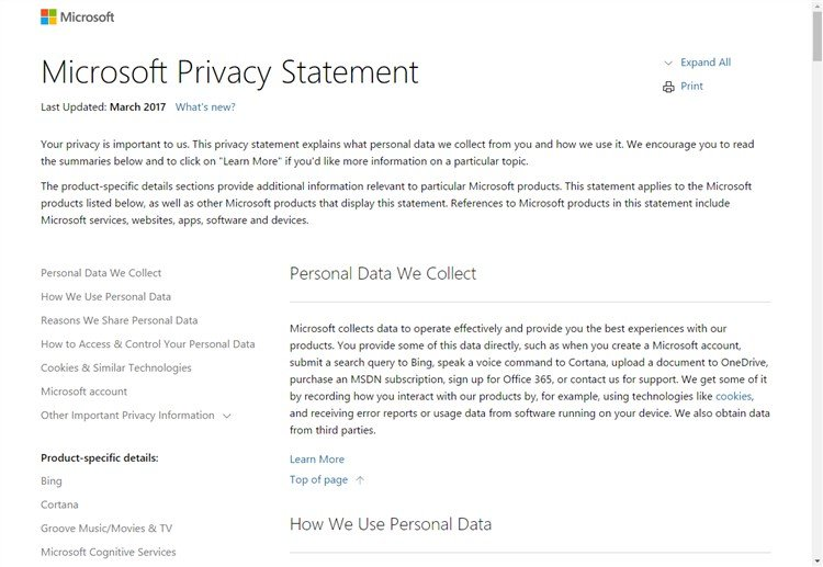 Read Privacy Statement For Windows  And Microsoft Services