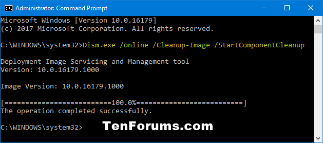 Clean Up Component Store (WinSxS folder) in Windows 10