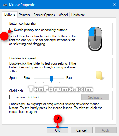Change Mouse Primary Button to Left or Right in Windows 10 | Tutorials