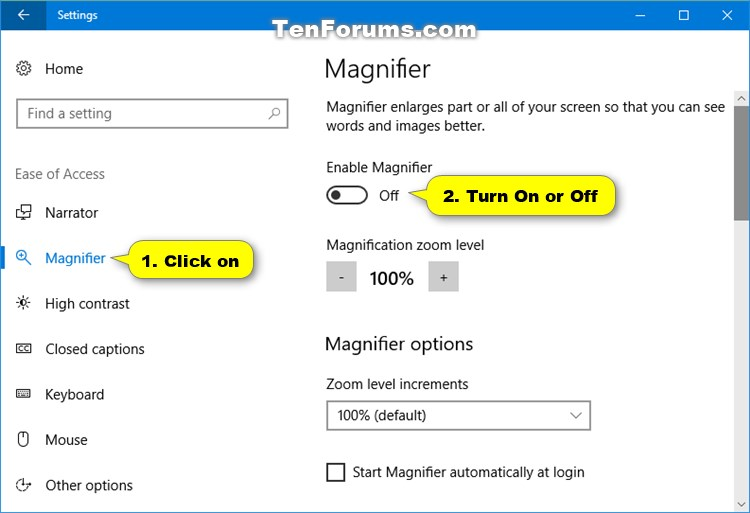 Open and Close Magnifier in Windows 10   Tutorials