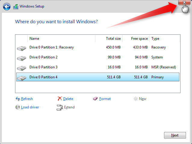 Apply Windows Image using DISM Instead of Clean Install-exit-partitioning.png