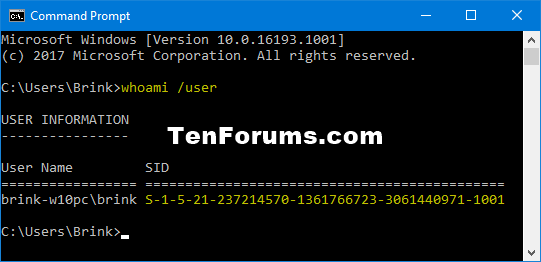 Find Security Identifier (SID) of User in Windows-whoami_user.png