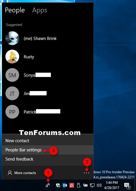 Turn On or Off Show My People Pops in Windows 10   Tutorials