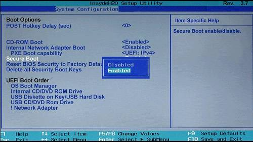 disable secure boot windows