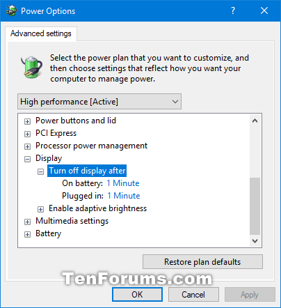 how to turn off display windows 7