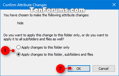 Set or Unset Hidden Attribute of Files and Folders in