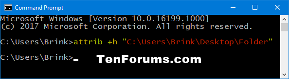 Set or Unset Hidden Attribute of Files and Folders in Windows 10-hide_folder_only_command.png