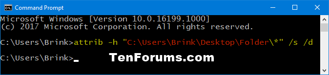 Set or Unset Hidden Attribute of Files and Folders in Windows 10-unhide_folder_subfolders_and_files_command.png