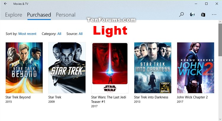 Change Theme Mode for Movies & TV app in Windows 10-movies-tv_light_mode.jpg