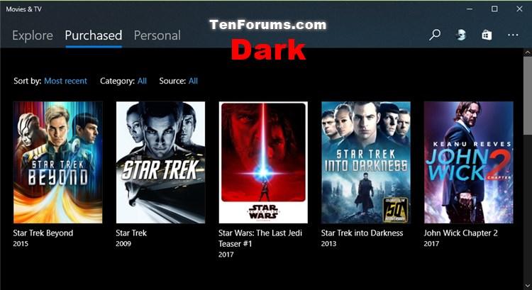 Change Theme Mode for Movies & TV app in Windows 10-movies-tv_dark_mode.jpg