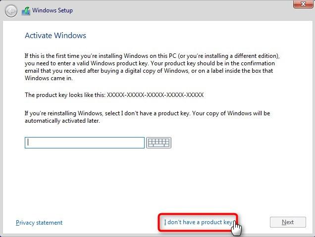Use Hyper-V virtual machine to get Windows 10 Insider ISO-skip-key.jpg