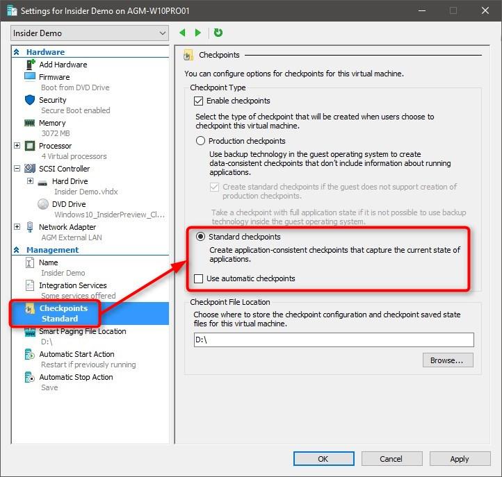 Use Hyper-V virtual machine to get Windows 10 Insider ISO-standard-checkpoints.jpg