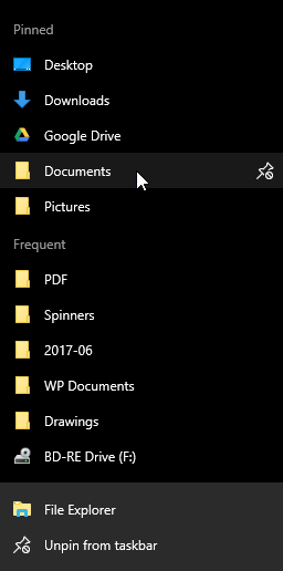 How to Pin or Unpin Folder Locations for Quick access in Windows 10-2017-06-14-16_33_56-jump-list-file-explorer.png