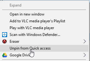How to Pin or Unpin Folder Locations for Quick access in Windows 10-unpin.png