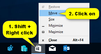 Move Off-Screen Window back On-Screen in Windows 10 | Tutorials