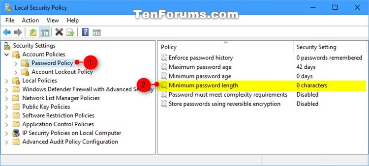 Change Minimum Password Length for Local Accounts in Windows 10