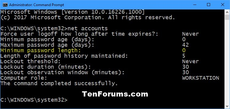 Change Minimum Password Length for Local Accounts in Windows