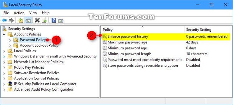 windows 10 local account password policy