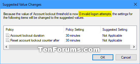 how to change lockout time on windows 10
