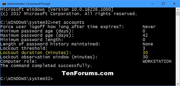 windows password lockout timer