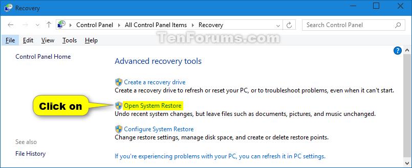 System Restore Windows 10   Tutorials