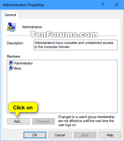 Add or Remove Users from Groups in Windows 10   Tutorials
