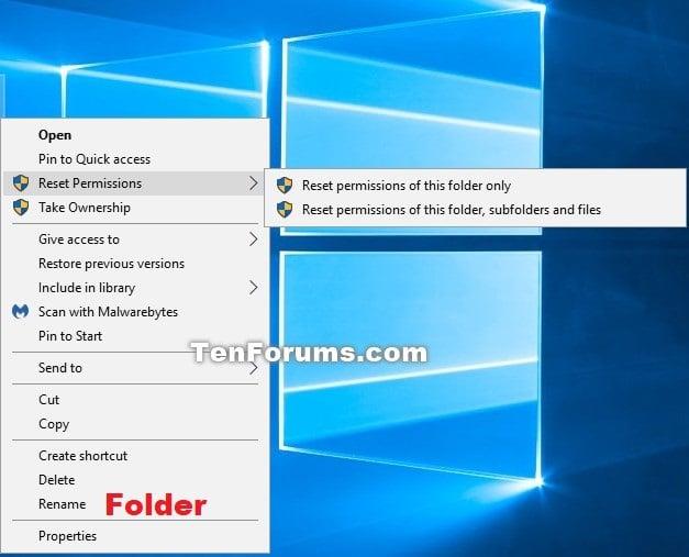Add Reset Permissions to Context Menu in Windows | Tutorials