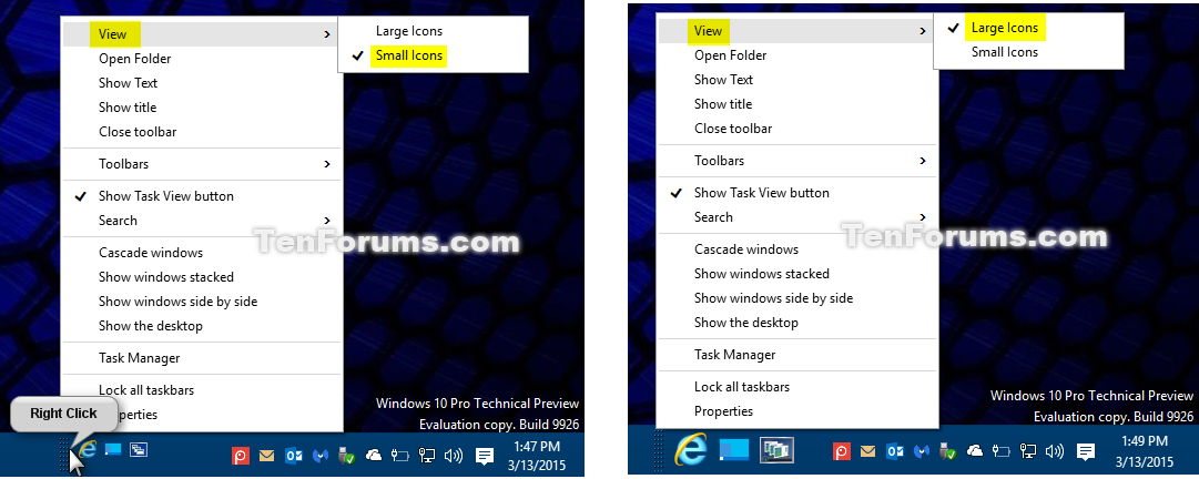 Add or Remove Quick Launch toolbar in Windows 10 | Tutorials