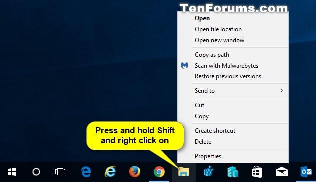 windows 10 right click taskbar icons