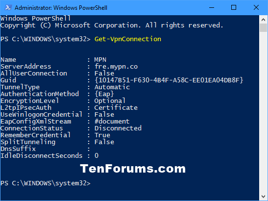 Powershell Create Vpn Connection Windows 10