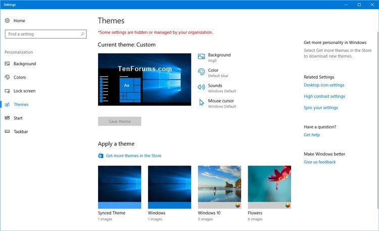 Allow or Prevent Users to Change or Save a Theme in Windows