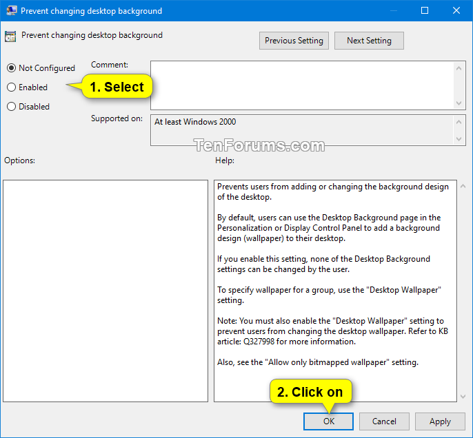 Allow Or Prevent Changing Desktop Background In Windows 10 Tutorials