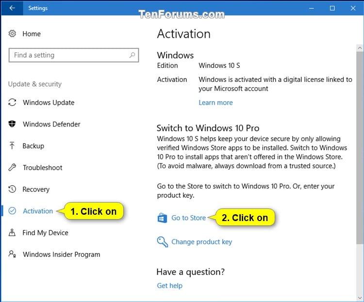 Switch to Windows 10 Pro from Windows 10 S Windows 10 ...
