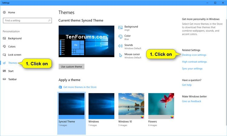 how to setup desktop icons on windows 10