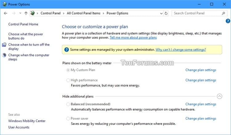 Specify Default Active Power Plan in Windows 10   Tutorials