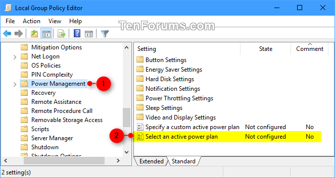 electrical management plan specify default active power plan in windows 10 | tutorials