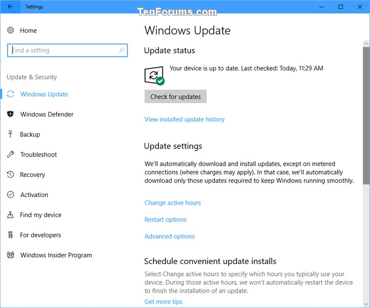 Add Windows Update to Control Panel in Windows 10 | Tutorials