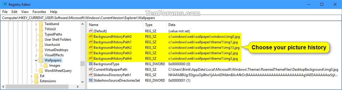 Reset Desktop Background Choose Your Picture History In Windows 10 Tutorials