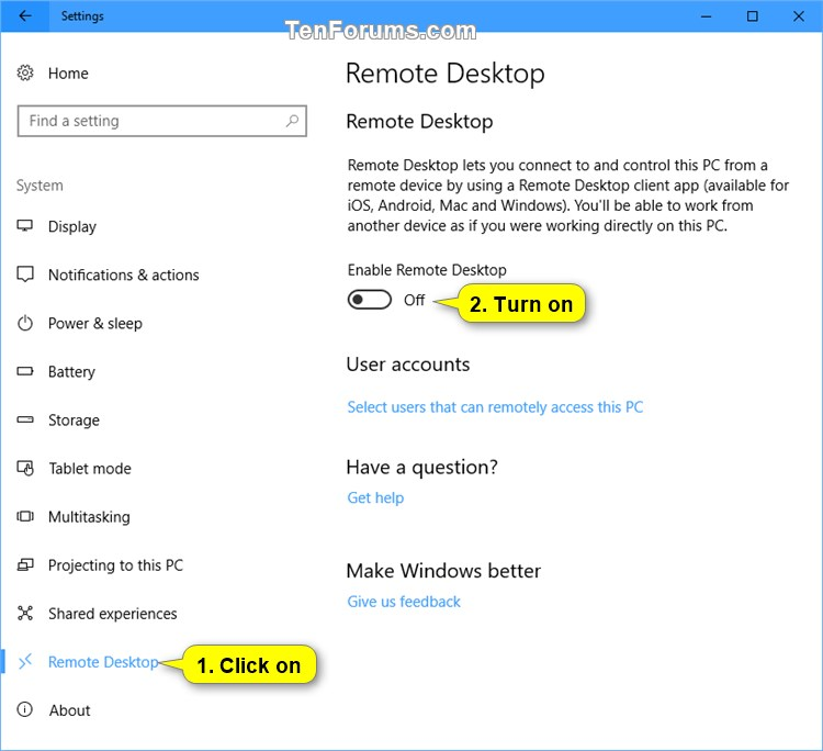 Enable or Disable Remote Desktop Connections to Windows 10 PC-enable_remote_desktop_in_settings-1.jpg