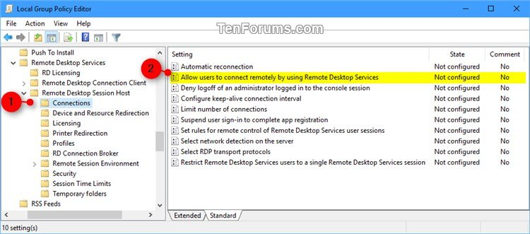 Enable or Disable Remote Desktop Connections to Windows 10