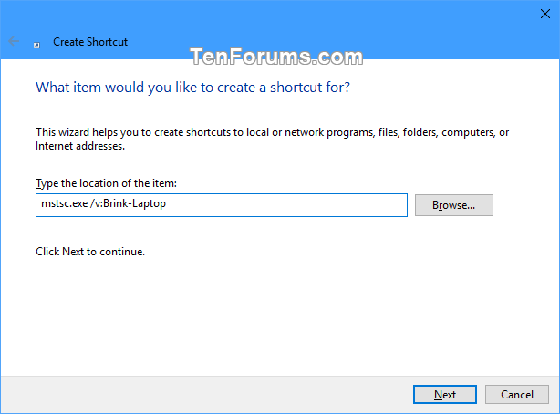 Create Remote Desktop Connection Shortcut for Specific PC in Windows-specific_pc_rdc_shortcut-1.png